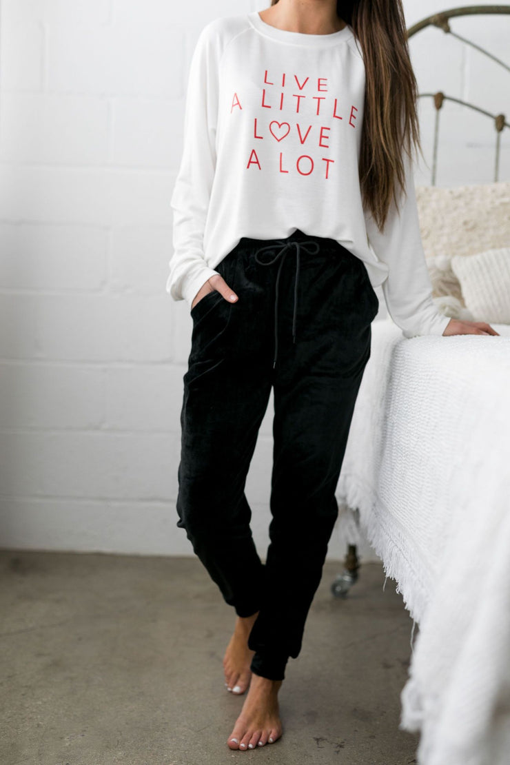 Very Velvety Velour Joggers in Black - White Raven Boutique