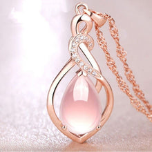 Load image into Gallery viewer, Rose Gold Teardrop Crystal Pendant Necklace
