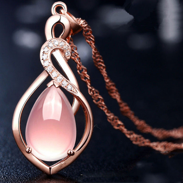 Rose Gold Teardrop Crystal Pendant Necklace