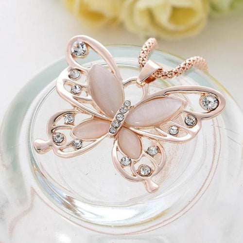 Rose Gold and Opal Butterfly Crystal Pendant Necklace