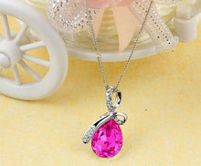 Load image into Gallery viewer, Teardrop Crystal Ribbon Pendant Necklace
