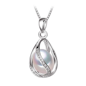Sterling Silver Pearl Pendant Cage Necklace