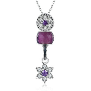 Sterling Silver 2 Piece Purple Snowflake Charm Pendant Necklace