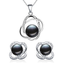 Load image into Gallery viewer, Natural Freshawater Pearl Floating Pendant Necklace and Earrings