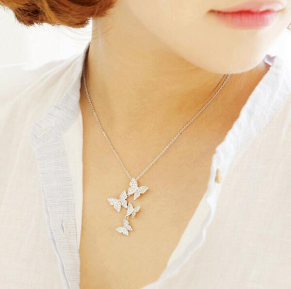 Crystal Zircon Butterfly Pendant Necklace