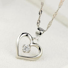 Load image into Gallery viewer, Sterling Silver Cubic Zirconia Crystal Solitaire Heart Pendant Necklace