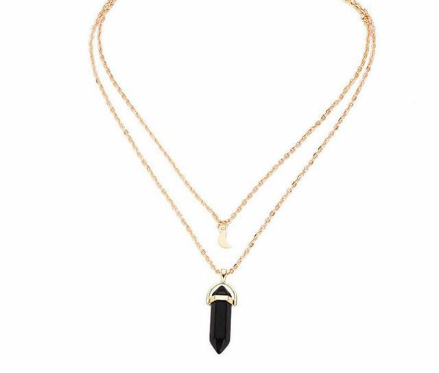 Multilayered Crystal Pendant Necklace and Choker