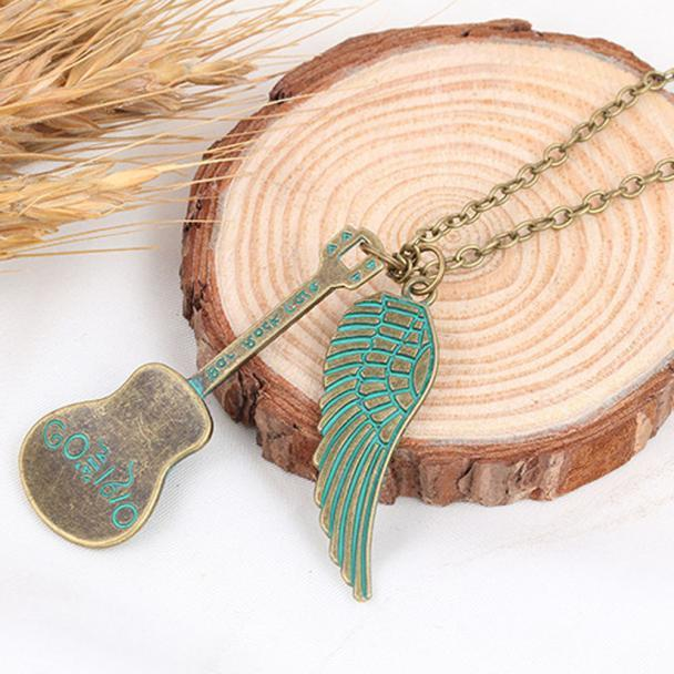 Guitar Angel Wing Pendant Necklace