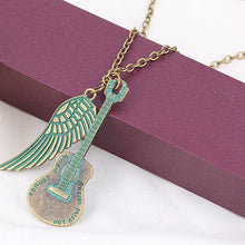 Load image into Gallery viewer, Guitar Angel Wing Pendant Necklace