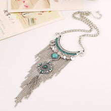 Load image into Gallery viewer, Bohemian Style Turquoise Tassel Pendant Necklace
