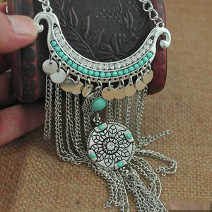 Bohemian Style Turquoise Tassel Pendant Necklace