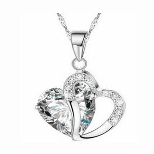Crystal Rhinestone Heart Pendant Necklace