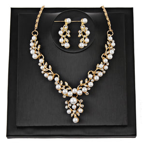 Pearl and Rhinestone Necklace and Earrings Jewelry Set