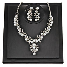 Load image into Gallery viewer, Pearl and Rhinestone Necklace and Earrings Jewelry Set