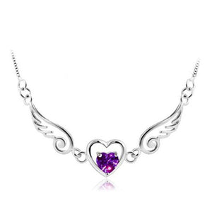 Platinum Plated Angel Wing Heart Pendant Necklace