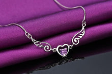 Load image into Gallery viewer, Platinum Plated Angel Wing Heart Pendant Necklace