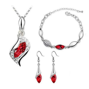 Crystal Marquise Pendant Necklace, Bracelet, and Earrings Set
