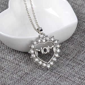 Silver Mom In Heart Pendant Necklace