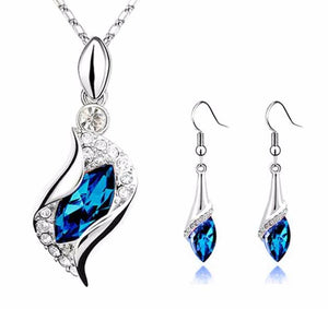 Sapphire Blue Austrian Crystal Marquise Pendant Necklace and Earrings Set