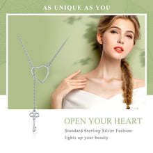 Load image into Gallery viewer, Sweetheart Key to my Heart Sterling Silver Pendant Necklace