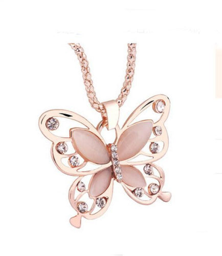 Rose Gold Opal Butterfly Pendant Necklace