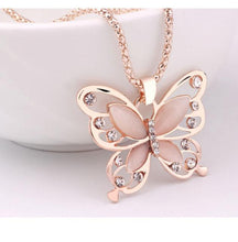 Load image into Gallery viewer, Rose Gold Opal Butterfly Pendant Necklace