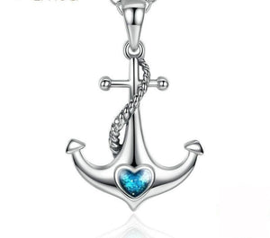 Anchor Sterling Silver Pendant Necklace with Blue Crystal Heart