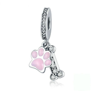 Sterling Silver Dog Paw Print and Bone Pendant