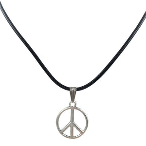 Retro Peace Charm Pendant with Leather Necklace