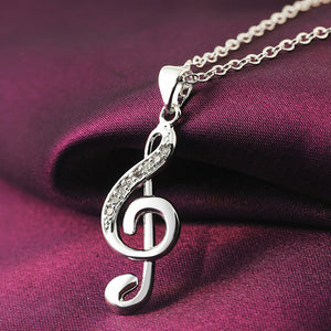 Silver Crystal Treble Clef Pendant Necklace