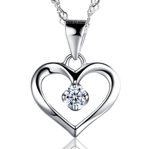 Sterling Silver Cubic Zirconia Crystal Solitaire Heart Pendant Necklace
