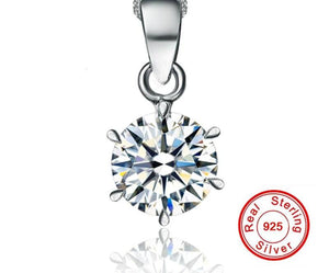 Classic Solitaire Pendant Necklace with Cubic Zirconia and Sterling Silver