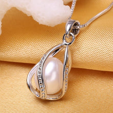 Load image into Gallery viewer, Sterling Silver Pearl Pendant Cage Necklace