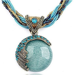 Bohemian Turquoise Gemstone Pendant Necklace