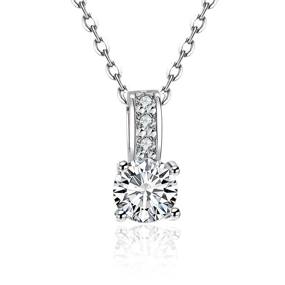 18K White Gold Plated Swarovski Crystal Solitaire Pendant Necklace