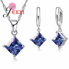 Load image into Gallery viewer, Blue Crystal Square Solitaire Sterling Silver Pendant Necklace And Earring Set
