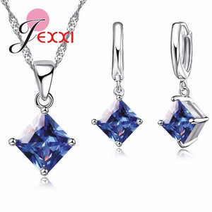 Blue Crystal Square Solitaire Sterling Silver Pendant Necklace And Earring Set