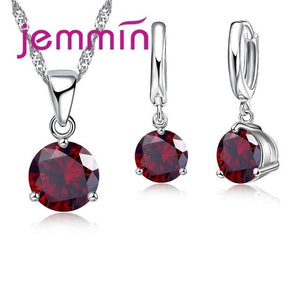 Sterling Silver CZ Pendant With Matching Earrings Set (Multiple Colors Available)