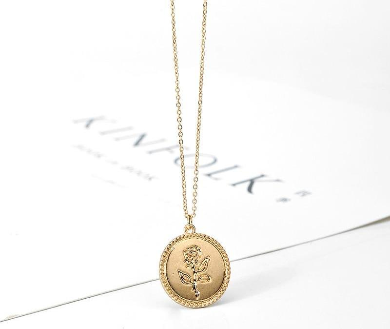 Rose Flower Coin Long Chain Pendant Necklace