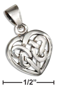 Sterling Silver Small Woven Celtic Knot Heart Pendant