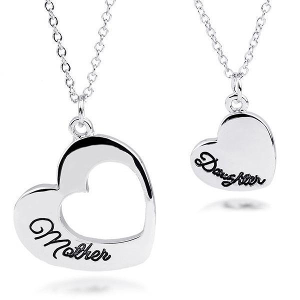 Mother Daughter Heart Pendant and Necklace Set