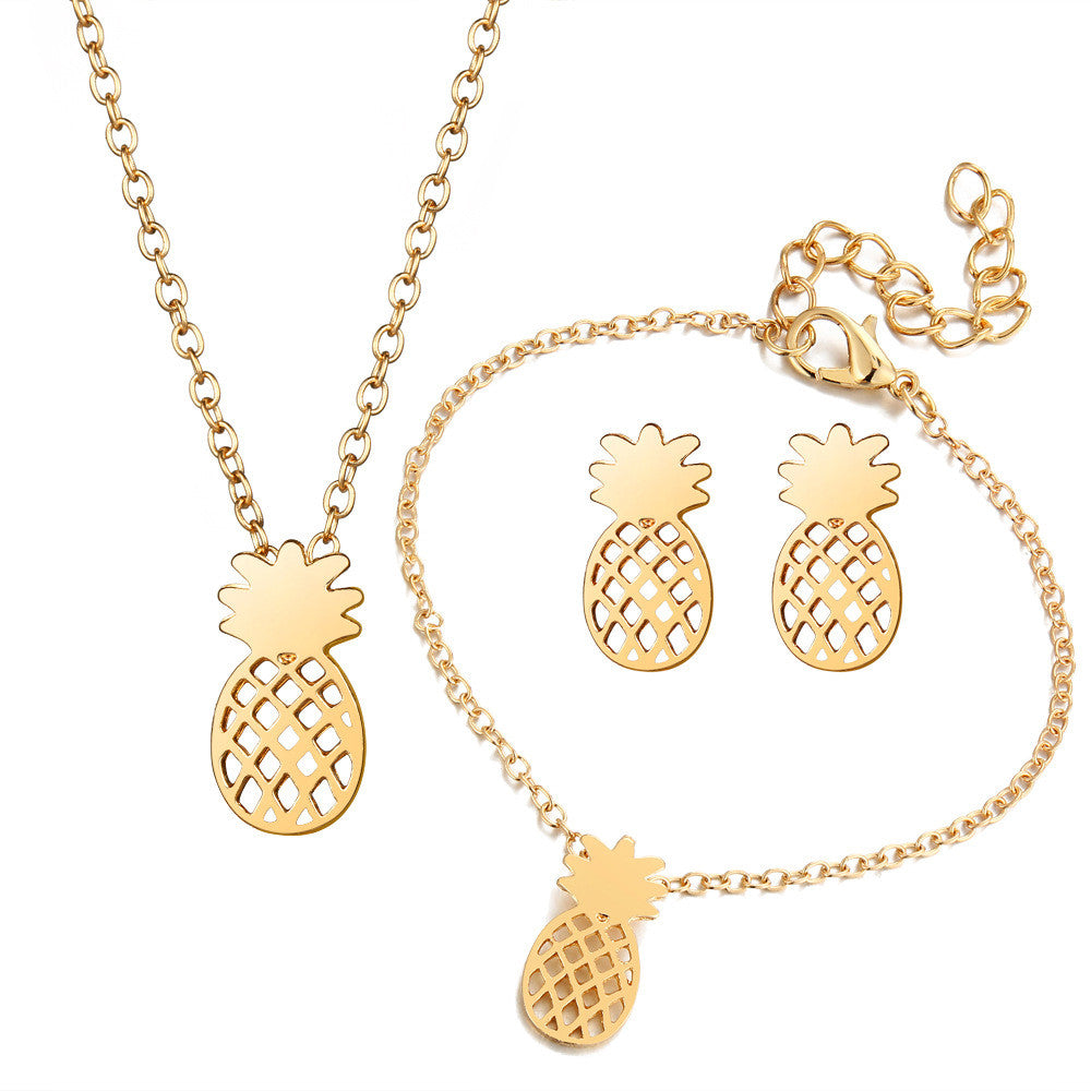 Pineapple Necklace With Matching Earrings and Bracelet