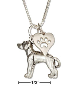 Sterling Silver Rhodesian Ridgeback Necklace with Dog Paw Print Heart Charm