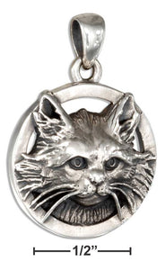 Sterling Silver Long Haired Cat Pendant