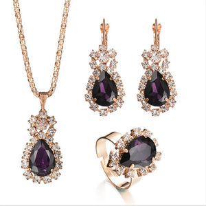 Gold Plated Teardrop Crystal Rhinestone Pendant Necklace, Earrings, and Ring Set