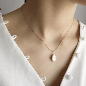 Sterling Silver Baroque Pearl Pendant Necklace