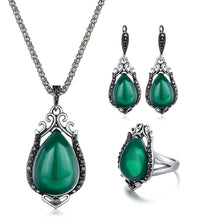 Load image into Gallery viewer, Vintage Water Drop Pendant Necklace with Earrings and Ring