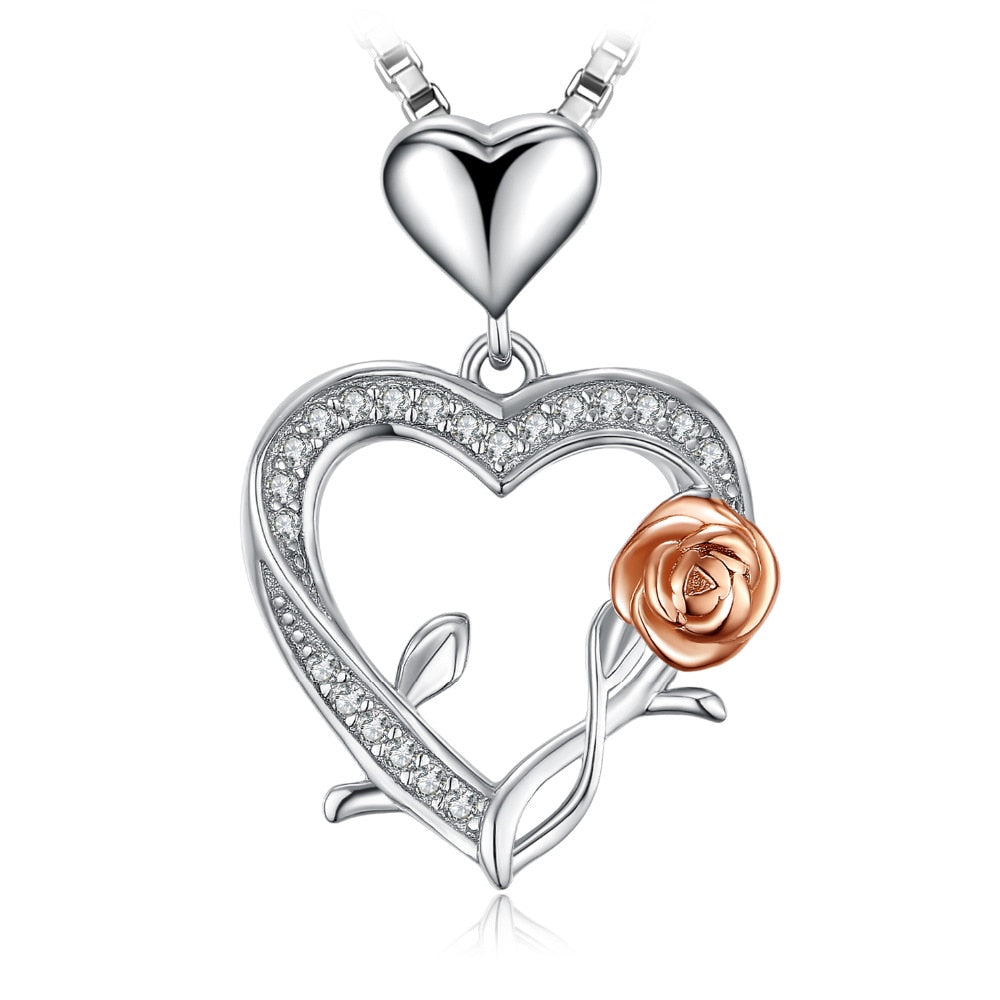 Sterling Silver Heart and Rose Cubic Zirconia Pendant