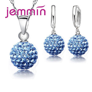 Crystal Pendant Necklace and Earrings Set