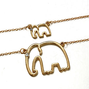 Double Stranded Elephant Crystal Pendant Necklace